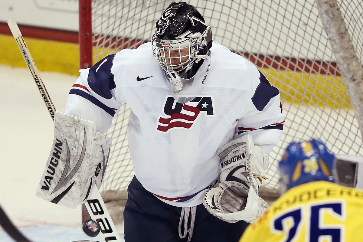 Providence College goalie and Calgary Flames draft pick Jon Gillies stole the show on Saturday at the National Junior Evaluation Camp in Lake Placid, NY.