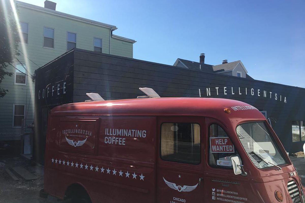 The Intelligentsia truck parked outside of the new Watertown location