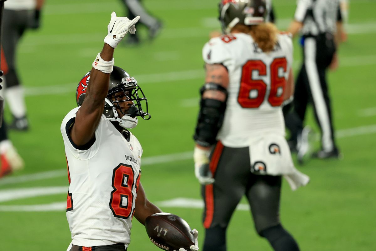 Antonio Brown #81 of the Tampa Bay Buccaneers celebrates a touchdown during the second quarter against the Kansas City Chiefs in Super Bowl LV at Raymond James Stadium on February 07, 2021 in Tampa, Florida.