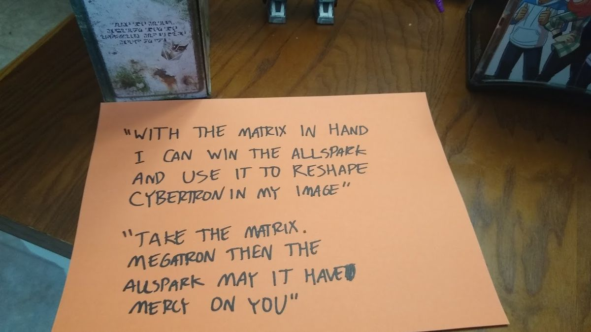 Transformers decoded toy message