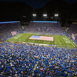 American flags are part of a 9/11 remembrance prior to BYU and Utah playing an NCAA football game at LaVell Edwards Stadium in Provo on Saturday, Sept. 11, 2021.