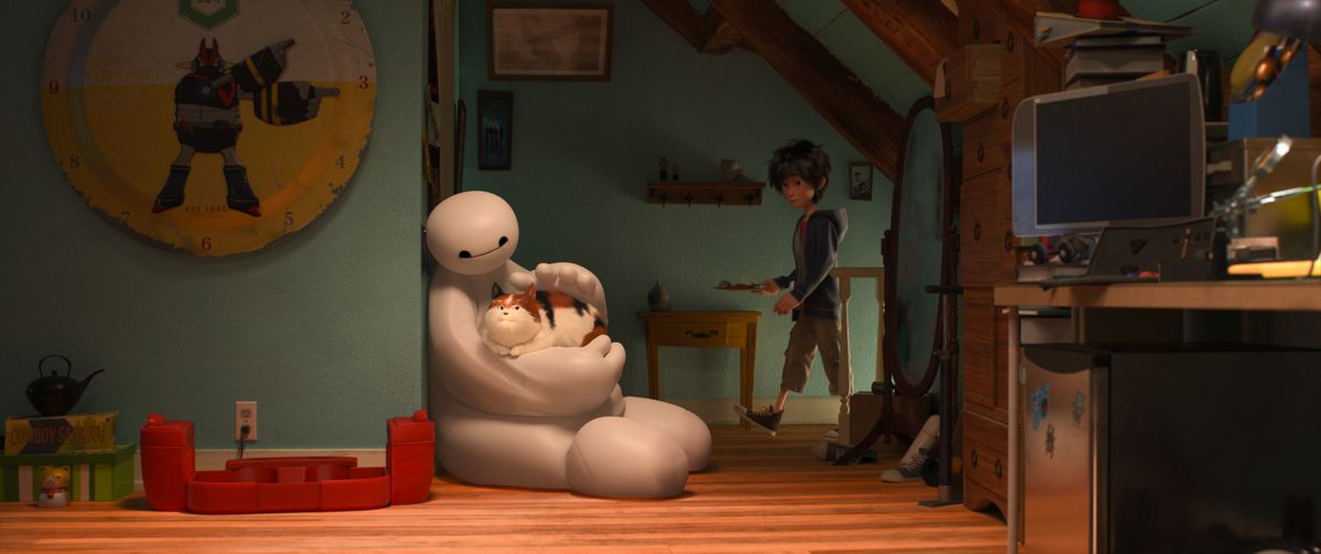 a scene from the CG-animated film Big Hero 6 in which Baymax, a large Michelin-Man-like figure, strokes a cat in a child's bedroom