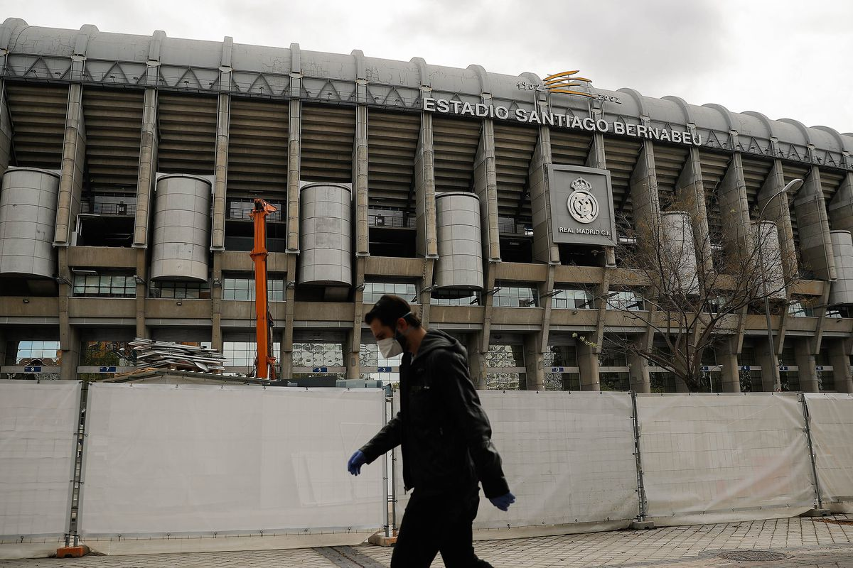 Incomplete sitework at Santiago Bernabeu due to Covid-19