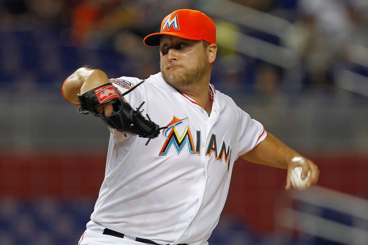 MIAMI, FL - JUNE 07:  Mark Buehrle #56 of the Miami Marlins pitches during a game against the Atlanta Braves at Marlins Park on June 7, 2012 in Miami, Florida.  (Photo by Mike Ehrmann/Getty Images)