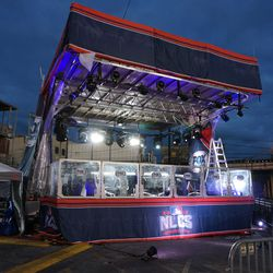 Lights on at the FOX Sports broadcast stage, at Waveland and Sheffield