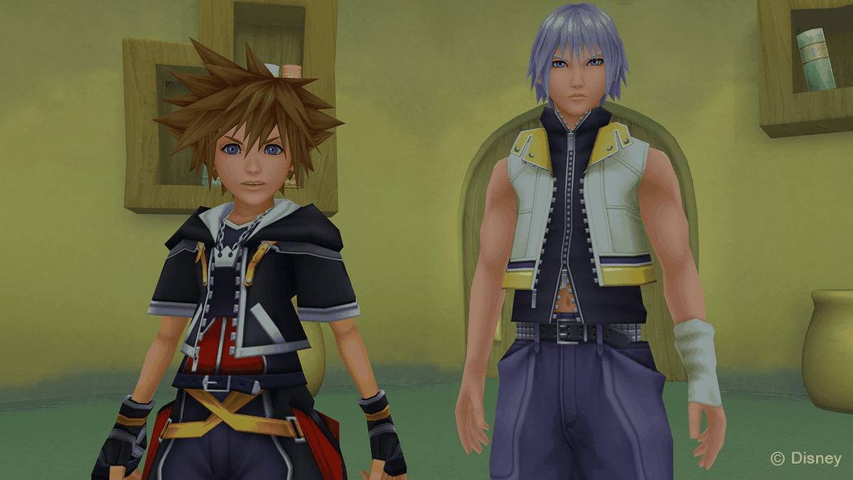 Sora and Riku stand together in Kingdom Hearts 3D: Dream Drop Distance.
