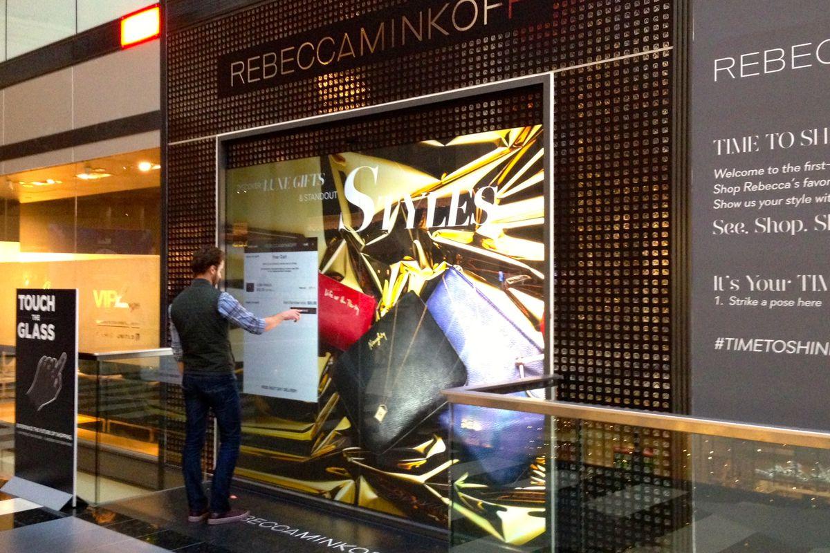 Rebecca Minkoff's digital storefront at Westfield Centre