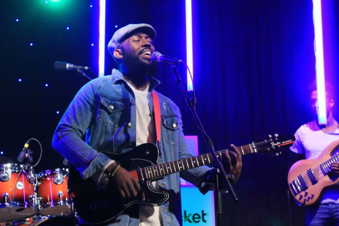 Actor/musician Calvin C. Winbush II, performing with his band.