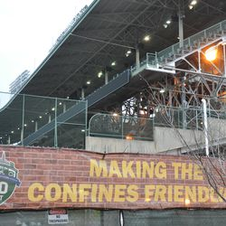 The scaffolding has been removed from under the upper deck ribbon board -