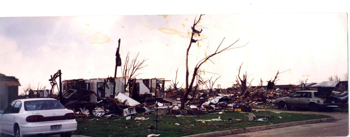 This photo shows what was left of the house. The closet you see with the door open backs up to the hall my wife and kids rode out the storm.