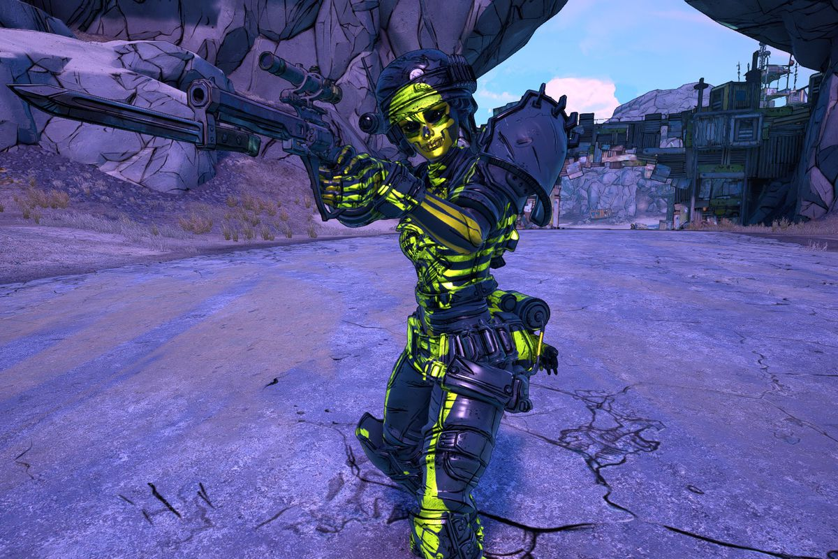 Moze poses pointing her gun in Borderlands 3