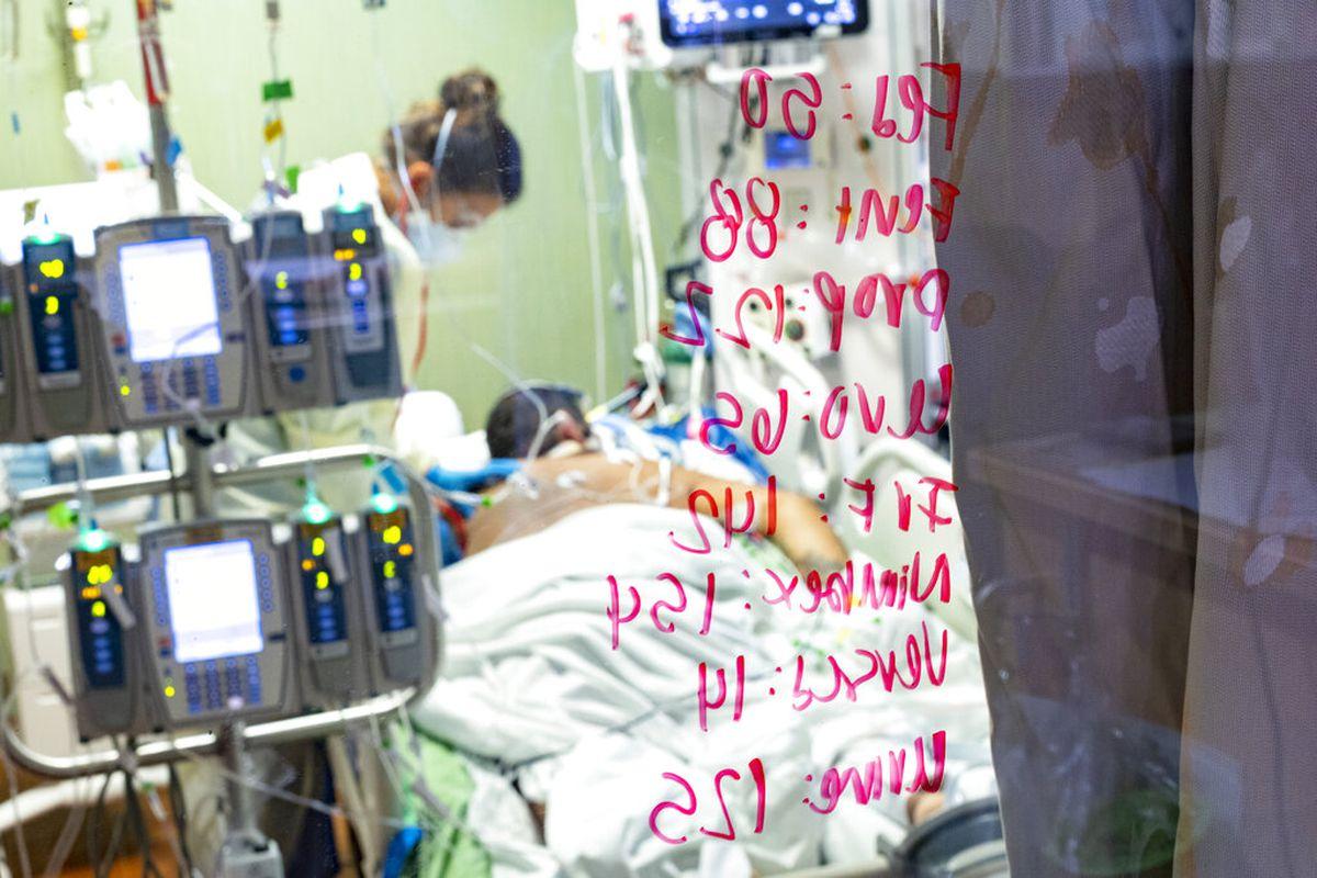 Registered nurse Ann Enderle checks on a COVID-19 patient at St. Luke's Boise Medical Center in Boise, Idaho.