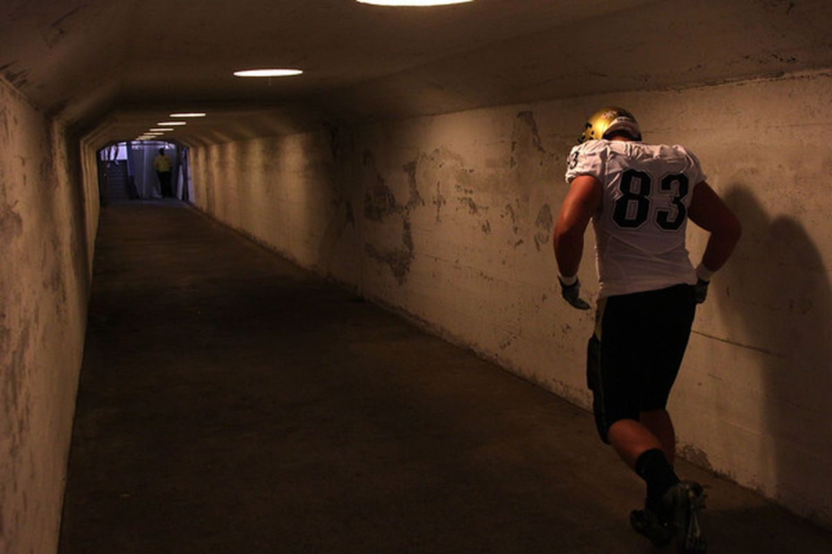 BERKELEY CA - SEPTEMBER 11:  Will Pericak #83 of the Colorado Buffaloes leaves the field against of the California Golden Bears at California Memorial Stadium on September 11 2010 in Berkeley California.  (Photo by Jed Jacobsohn/Getty Images)