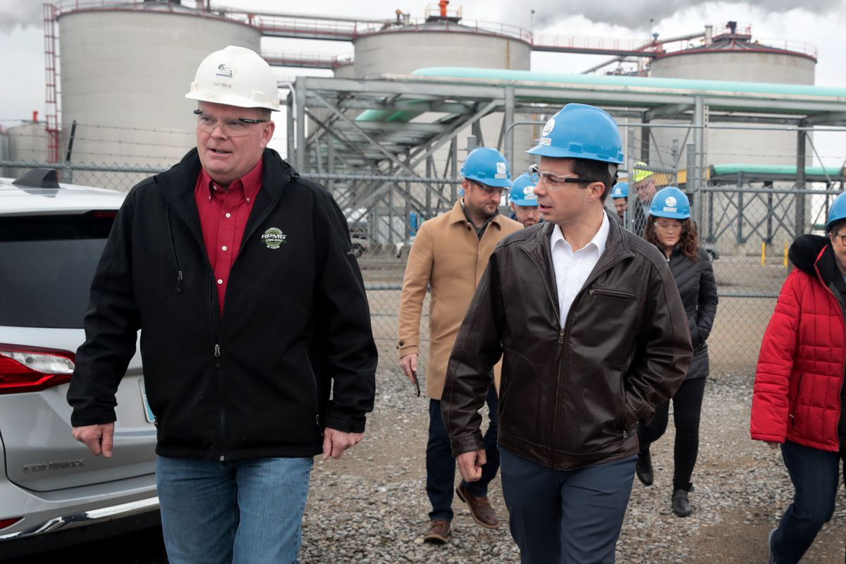 Democratic presidential candidate South Bend, Indiana Mayor Pete Buttigieg takes a tour of the Golden Grain Energy ethanol plant in Mason City, Iowa.
