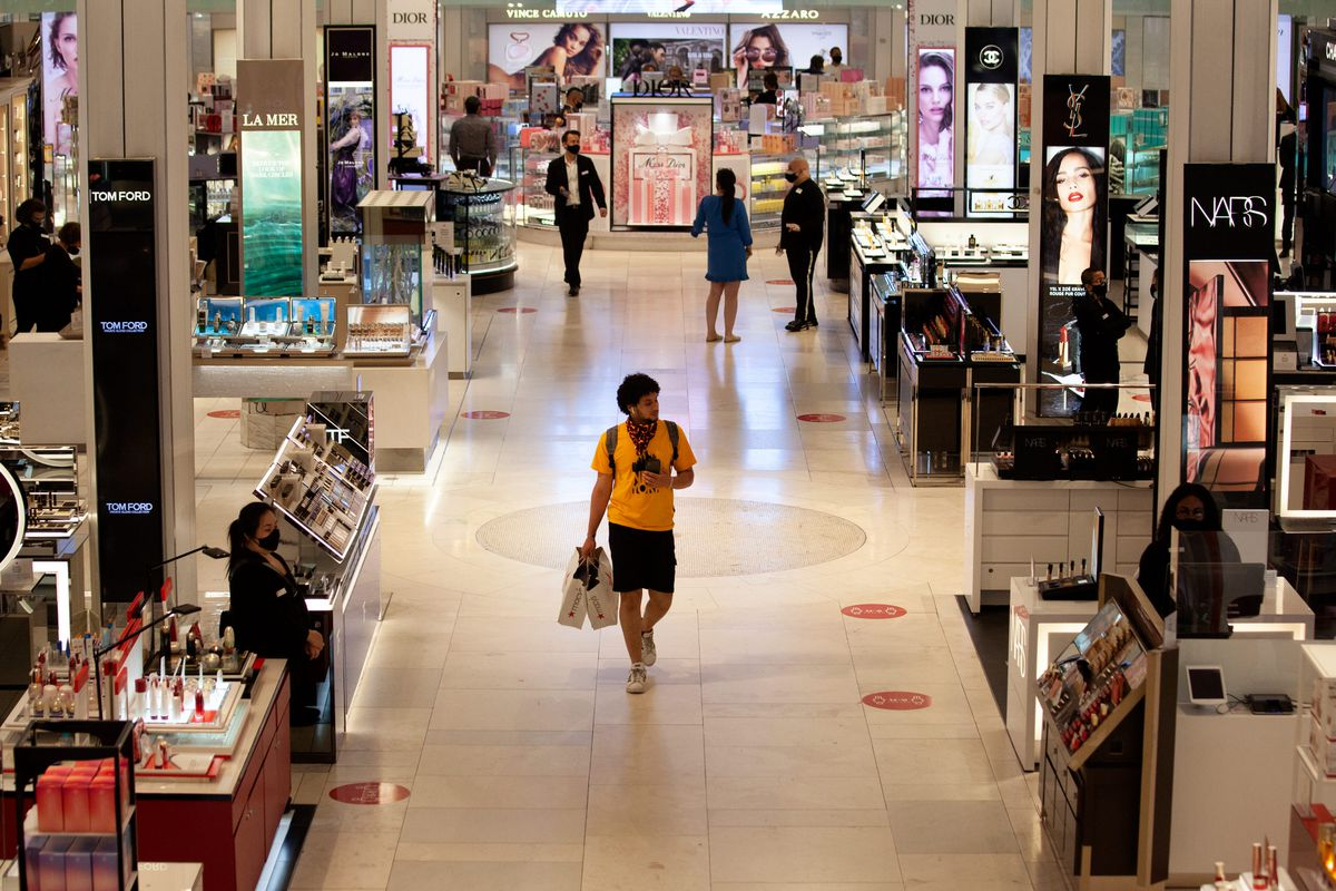 People shopped in Macy's after the department store reopened during the coronavirus outbreak, June 24, 2020.