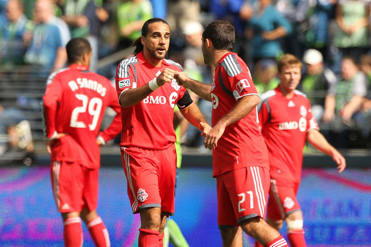 De Ro celebrates a goal in Seattle. More of that please.
