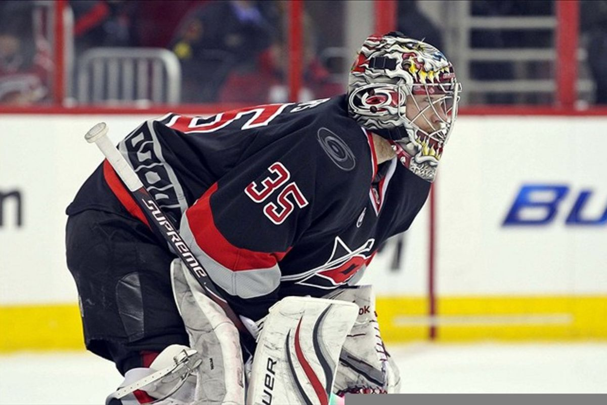 February 20, 2012; Raleigh, NC, USA; Carolina Hurricanes goalie Justin Peters (35) against the Washington Capitals at the RBC center. The Hurricanes defeated the Capitals 5-0. Mandatory Credit: James Guillory-US PRESSWIRE