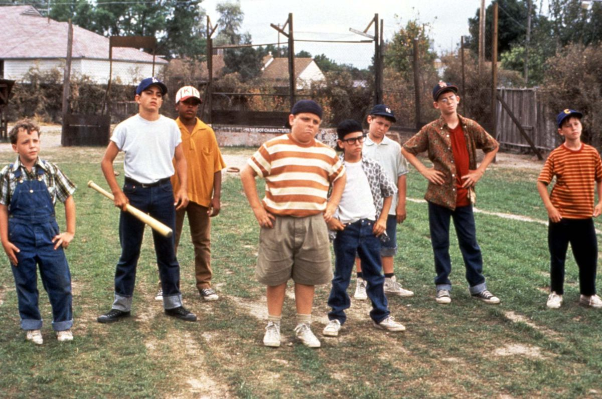 The assembled sandlot baseball team.