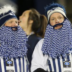 Brigham Young Cougars fans cheer in Provo on Friday, Oct. 6, 2017.