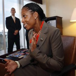 Mia Love, 4th District congressional candidate, who will be speaking at the Republican National Convention, takes time out from practicing her speech in her hotel room to talk with local media. Her husband, Jason Love, is listening in background.  Monday, Aug. 27, 2012