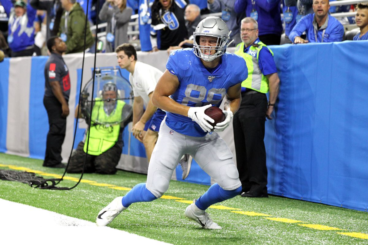 Detroit Lions tight end T.J. Hockenson scores a touch down during the first half of an NFL football game against the Kansas City Chiefs in Detroit, Michigan USA, on Sunday, September 29, 2019.