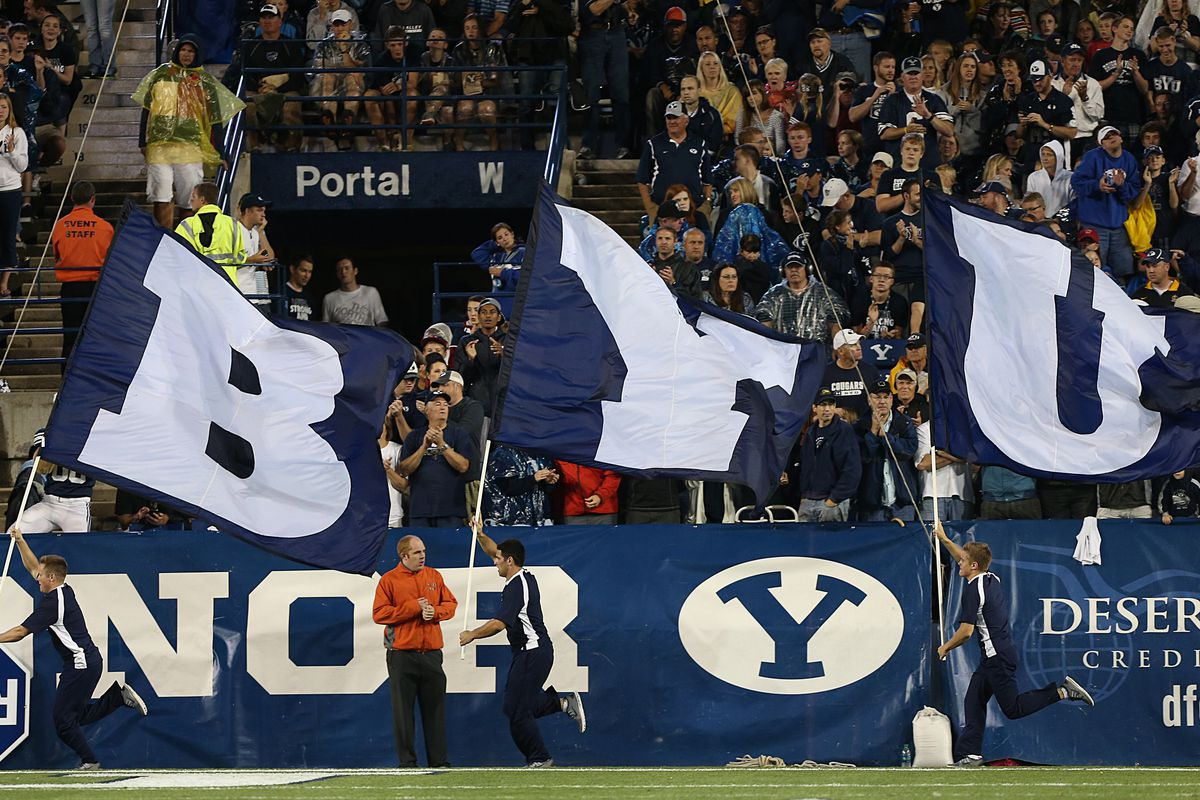 Flags fly before a game.