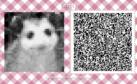 A QR code with a possum Animal Crossing pattern.