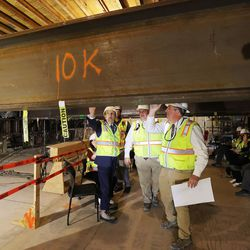 President Russell M. Nelson, president of The Church of Jesus Christ of Latter-day Saints, tours the renovation work at the Salt Lake Temple in Salt Lake City on Saturday, May 22, 2021.