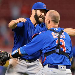 April 21: Jake Arrieta and David Ross celebrate Jake's no-hitter