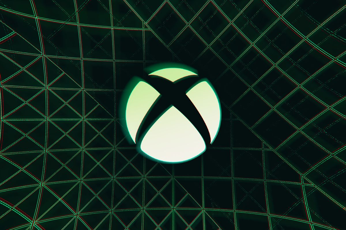The Xbox X in a circle logo against a dark background with green lines.