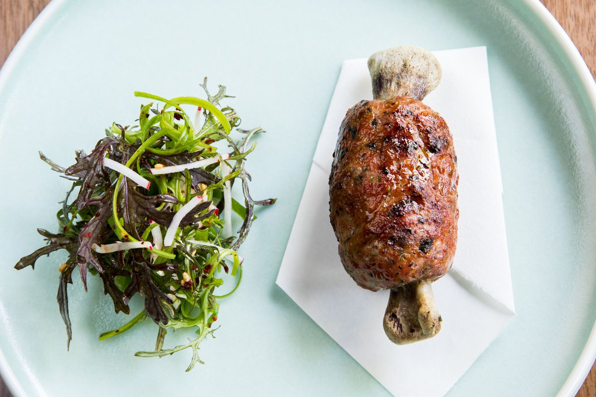 """Duck """"ddukgalbi"""" at Maum — a version of the traditional dish with ground duck meat pressed into a cylinder and shaped around a duck bone"""