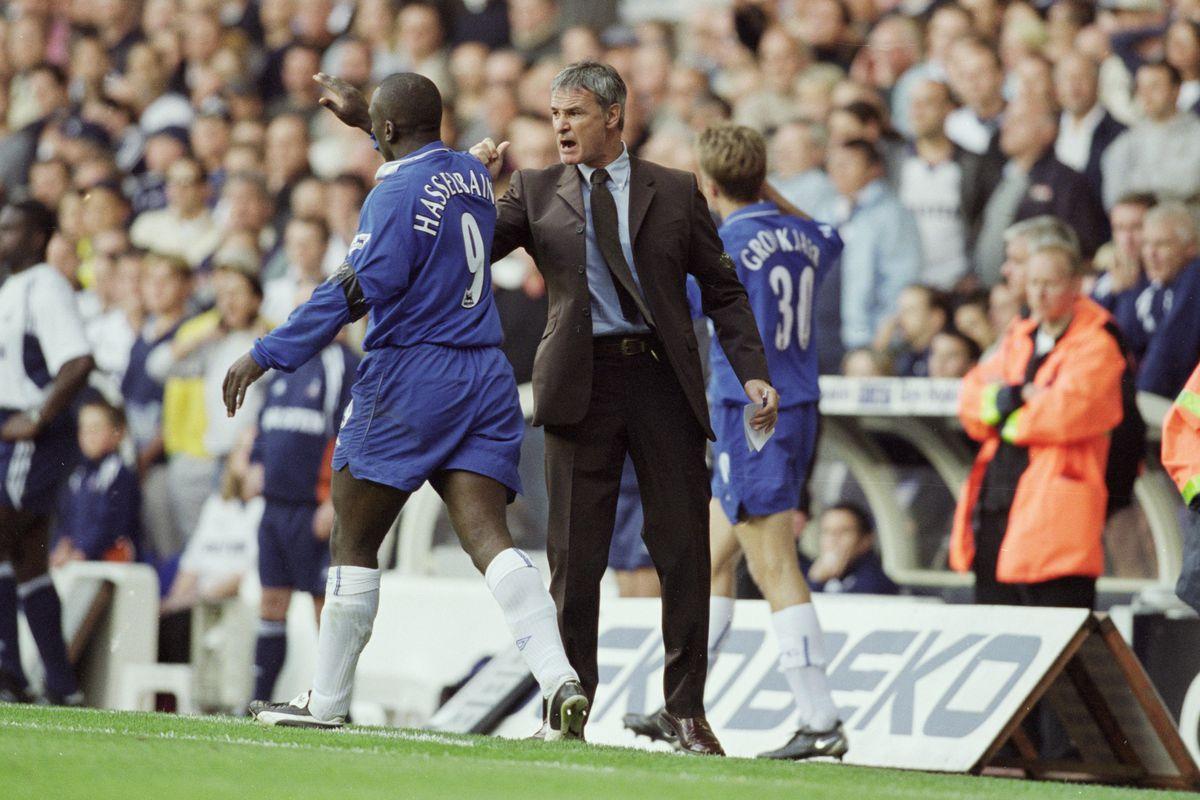 Ranieri celebrates with JFH in 2001, as Chelsea win 3-2 at White Hart Lane