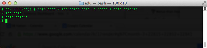 Notice That The Command Echo I Hate Colors Doesnt Use COLOR Variable At All So If Bash Were Working Correctly Vulnerable Should