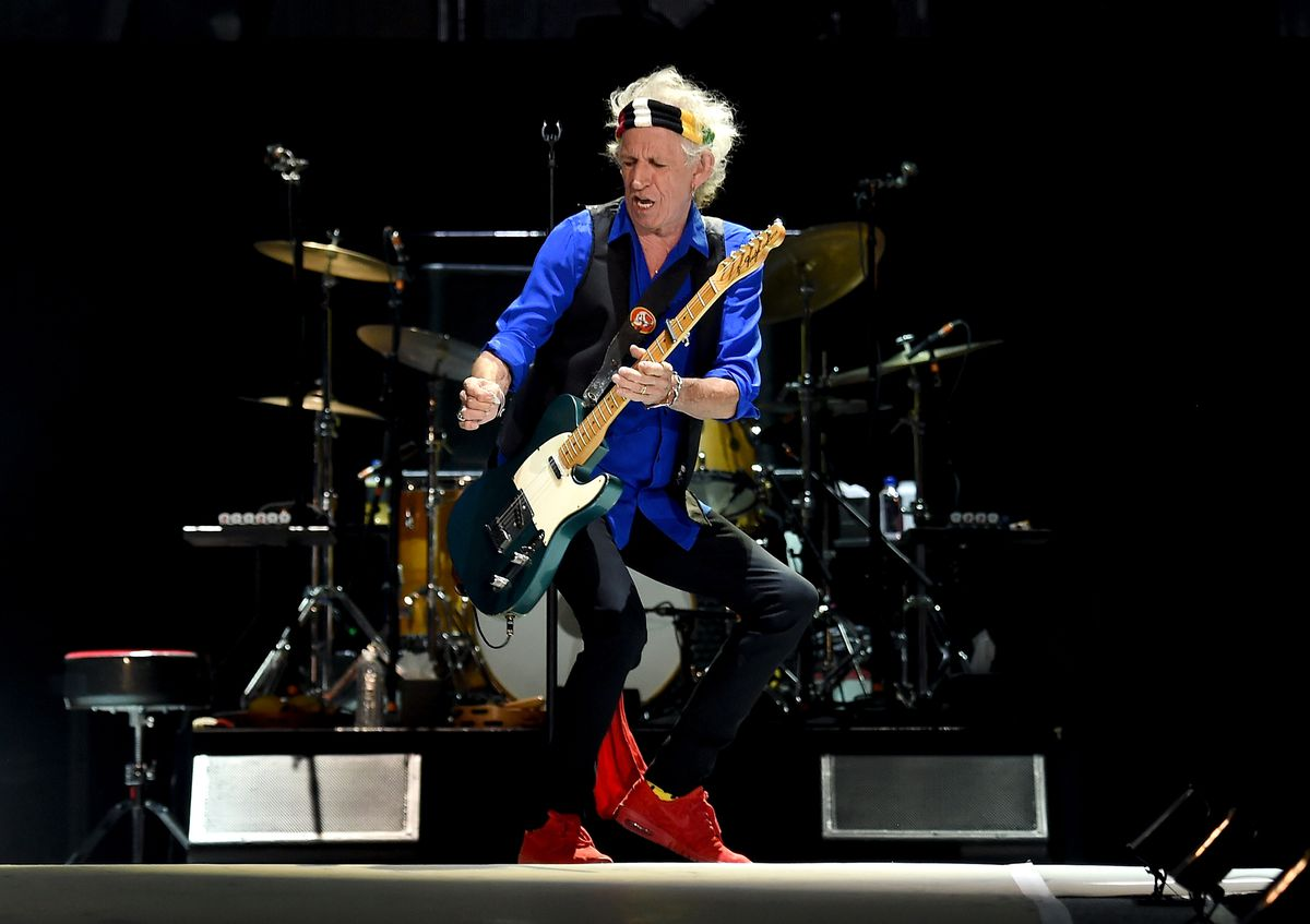 Keith Richards of the Rolling Stones performs during Desert Trip at the Empire Polo Field on October 14, 2016, in Indio, California. (Photo by Kevin Winter/Getty Images)