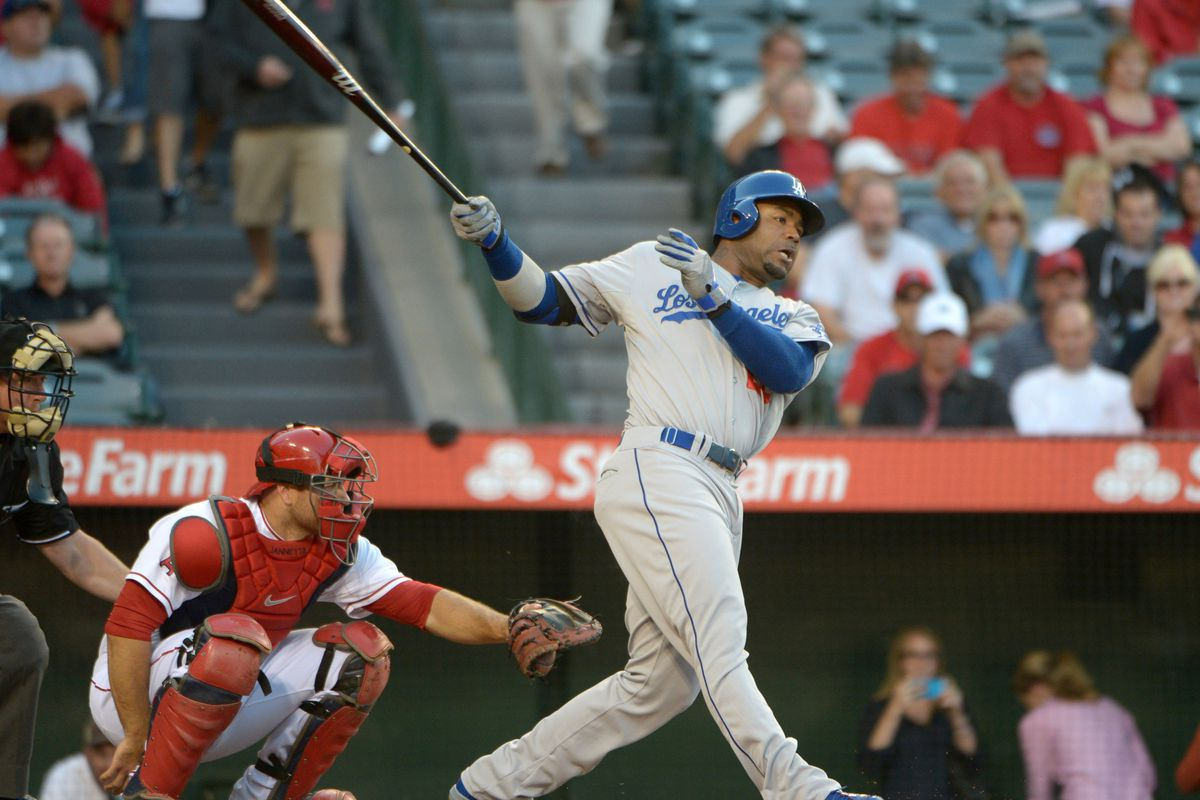Carl Crawford-pictured here against the Los Angeles Angels - begins his rehab with the Quakes
