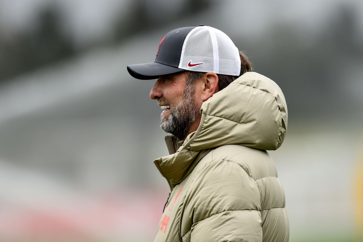 Jurgen Klopp manager of Liverpool during a training session at AXA Training Centre on September 23, 2021 in Kirkby, England.