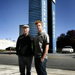 Joe Alfandre, left, helped lead the process of building a walkable community with the Kentlands Initiative, and now his son, James, right, is helping to do the same in the Granary Row district in Salt Lake City. The father and son stand at the site of the future Granary Row marketplace in Salt Lake City on Friday, May 31, 2013.