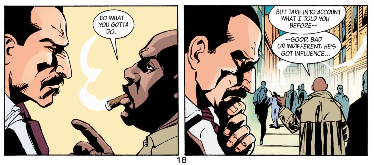 Social worker Felix Desidero's boss, Willie, warns him that if he's going to investigate Bruce Wayne, he should think about how influential the guy is, in Gotham Knights #44, DC Comics (2003).