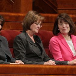 Sisters Linda Burton, Carole Stephens and Linda Reeves take the stand after being called to the Relief Society during the 182nd  Annual General Conference for The Church of Jesus Christ of Latter-day Saints in Salt Lake City  Saturday, March 31, 2012.