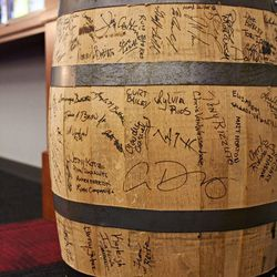 This barrel was signed by some Blackhawks and other Wirtz friends; it'll soon ship back to Scotland