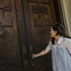 Ji Suk Yi outside of St Nicholas Ukrainian Catholic Cathedral in Ukrainian Village. | Tyler LaRiviere/Sun-Times