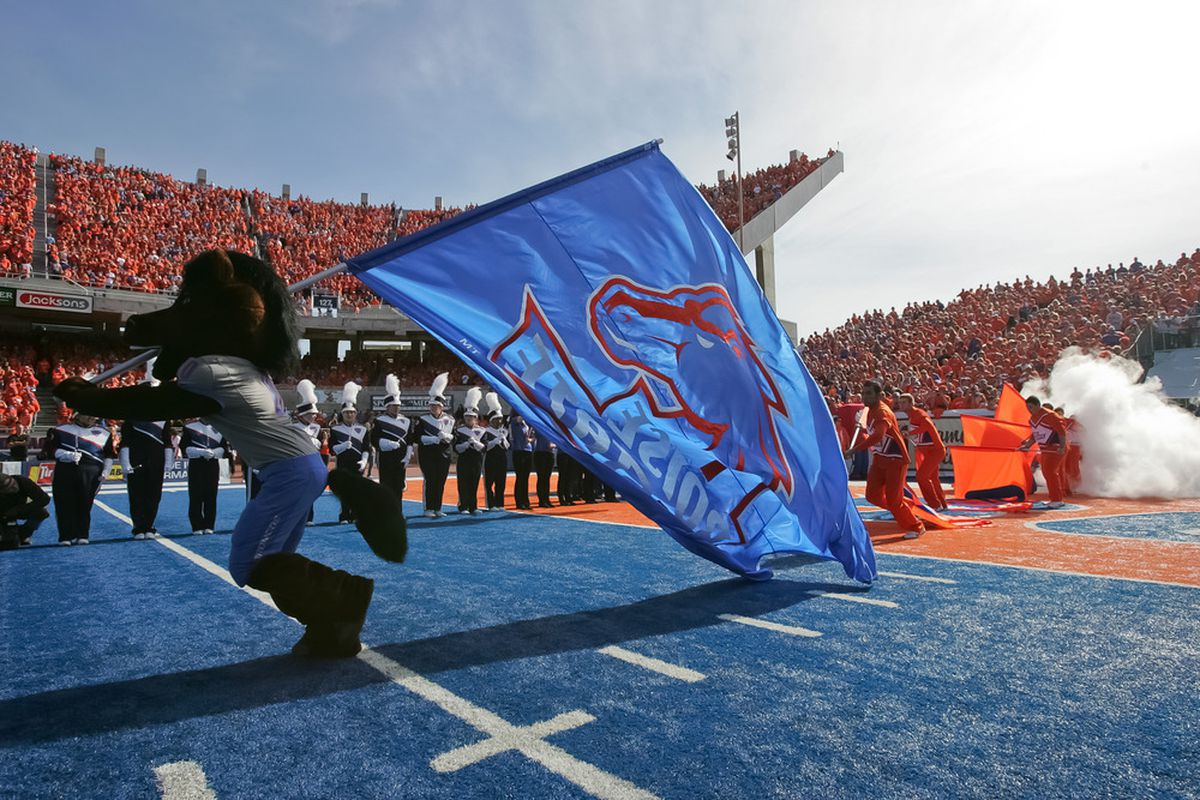 BOISE, ID - OCTOBER 22:  Mascot Buster Bronco of the Boise State Broncos runs the flag onto the field before the game against the Air Force Falcons at Bronco Stadium on October 22, 2011 in Boise, Idaho.  (Photo by Otto Kitsinger III/Getty Images)