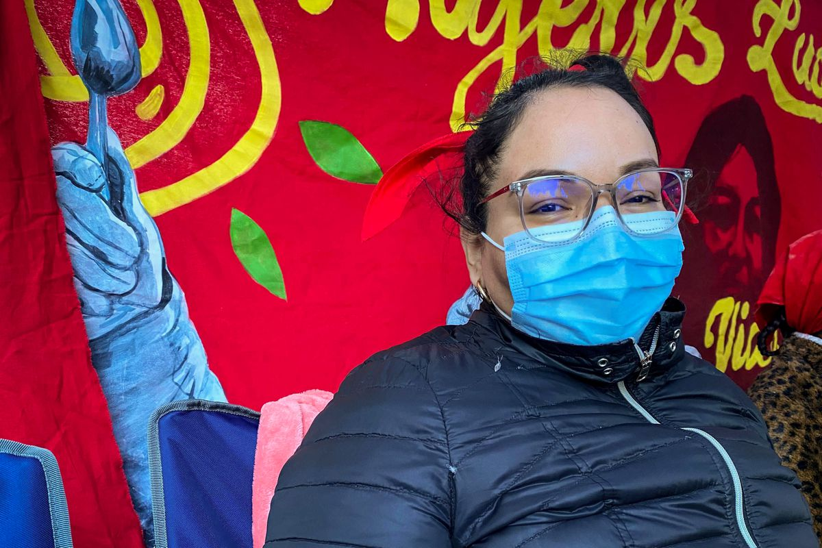 Verónica Leal, photographed outside of Judson Memorial Church, has been on hunger strike for two weeks.