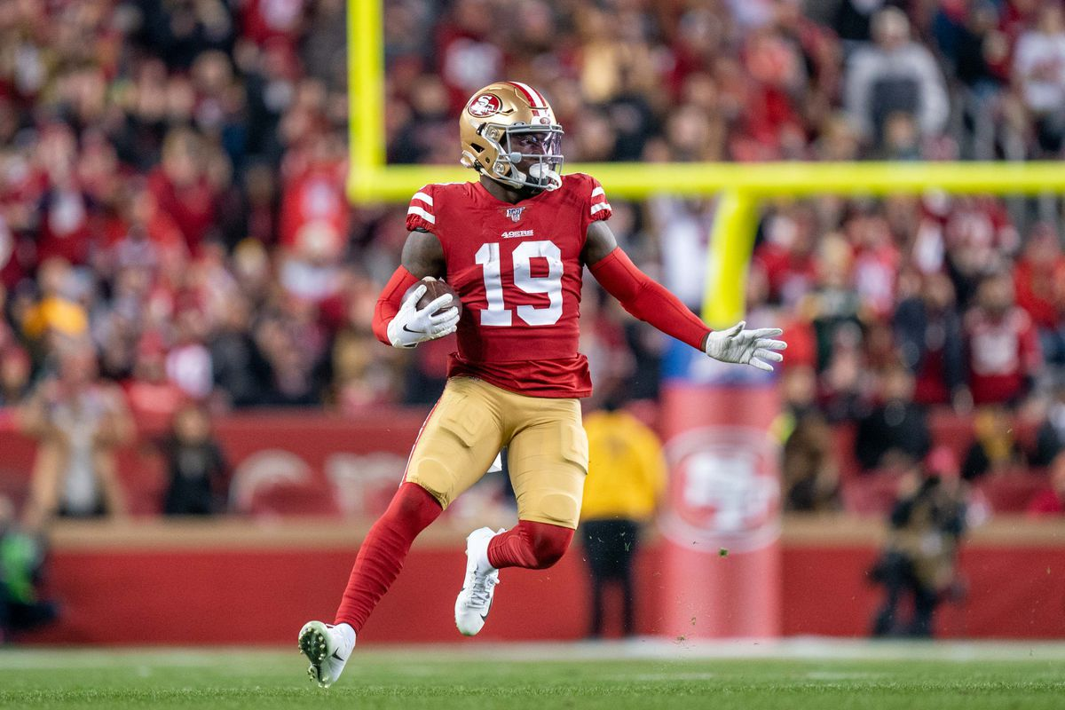 San Francisco 49ers wide receiver Deebo Samuel  during the third quarter in the NFC Championship Game against the Green Bay Packers at Levi's Stadium