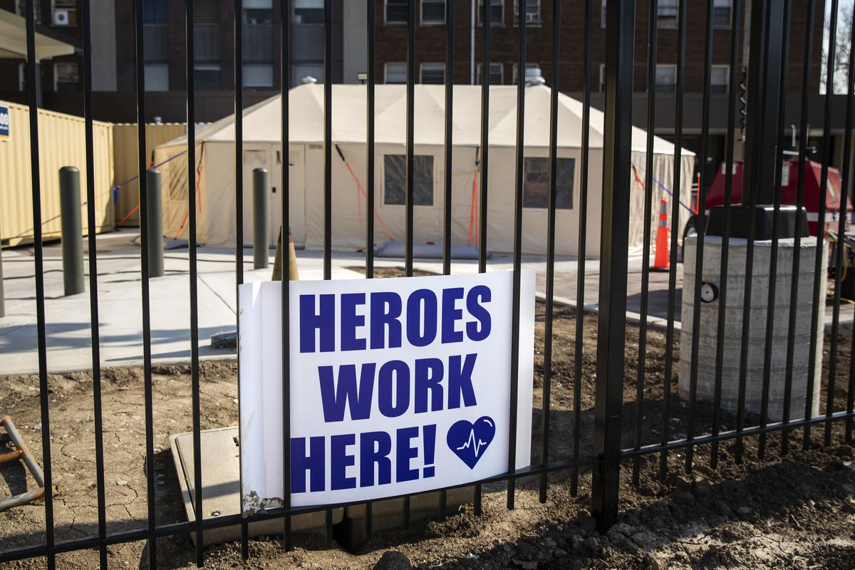 A sign posted outside Mount Sinai Hospital on Chicago's West Side.