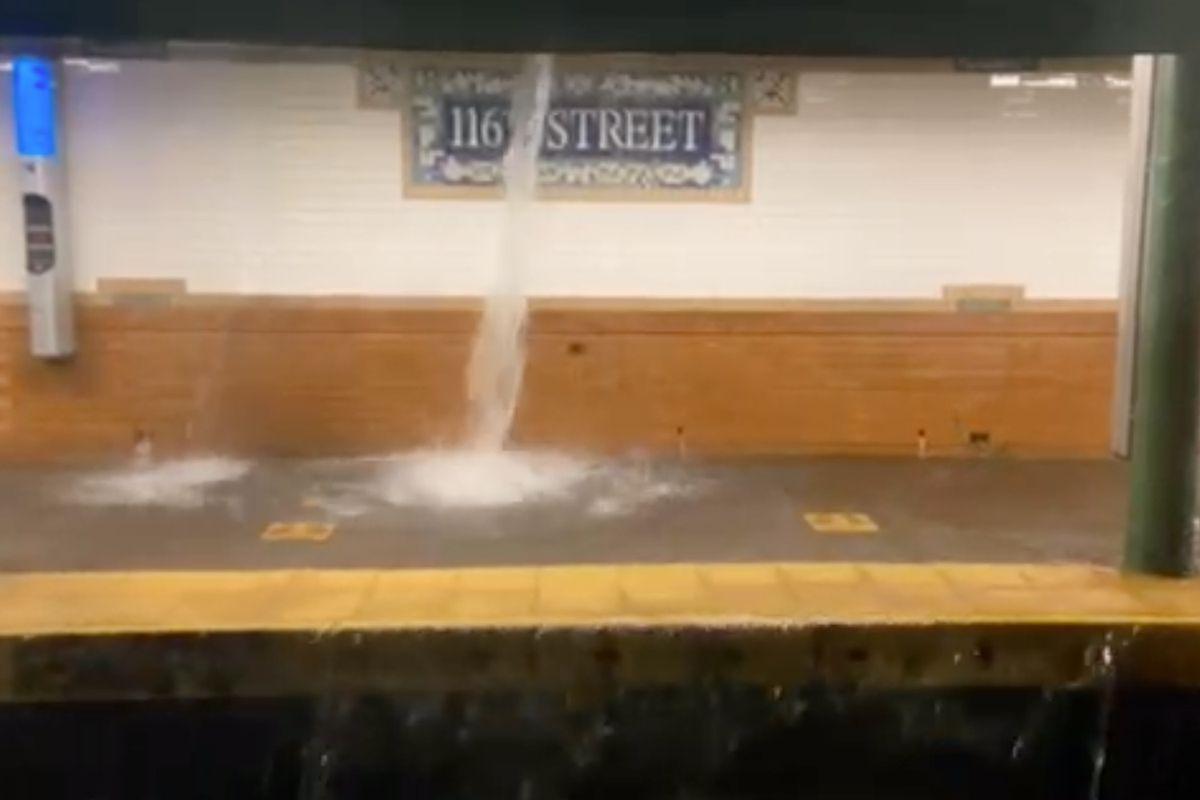Flooding at the 116th St IRT station in Harlem on Sept 1st 2021