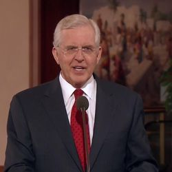 Elder D. Todd Christofferson of the Quorum of the Twelve Apostles introduces the speakers at the Jan. 27 briefing.