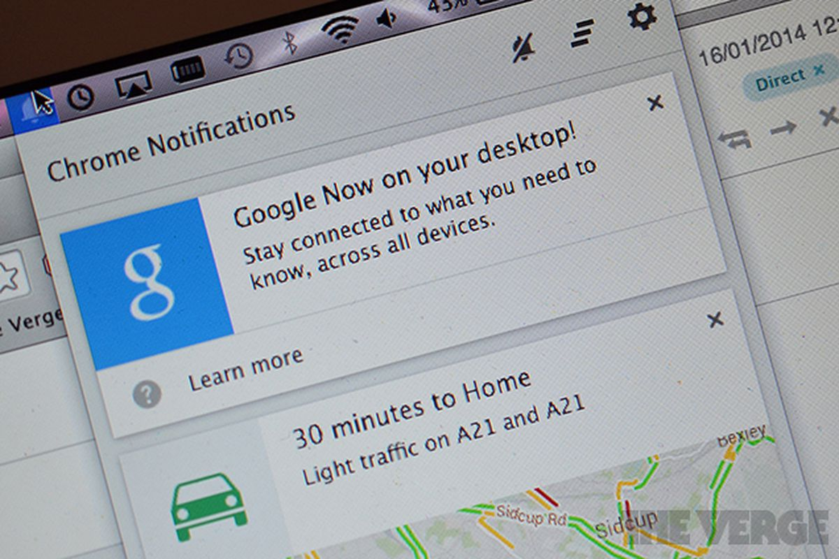 Google Now notifications added to Chrome beta for Mac and