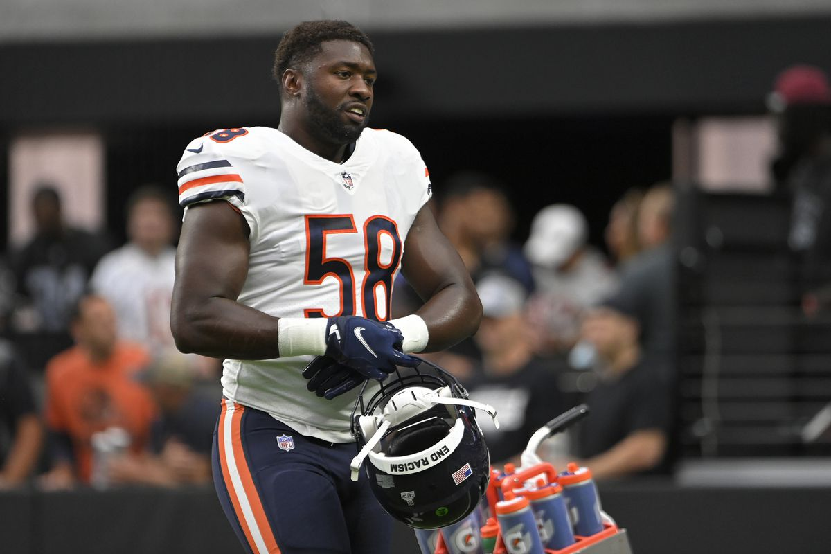 Bears linebacker Roquan Smith was flagged in the end zone Sunday.