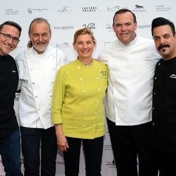 Chefs Rick Moonen, Hubert Keller, Mary Sue Milliken, Charlie Palmer and Mike Minor arrive at Vegas Uncork'd by Bon Appetit's Grand Tasting event at Caesars Palace. Photo: Ethan Miller/Getty Images
